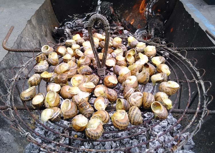 Приготовление улиток на решётке над огнём